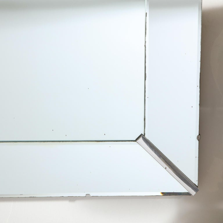Mid-Century Modern Rectangular Shadowbox Mirror with Chrome Inserts In Good Condition For Sale In New York, NY