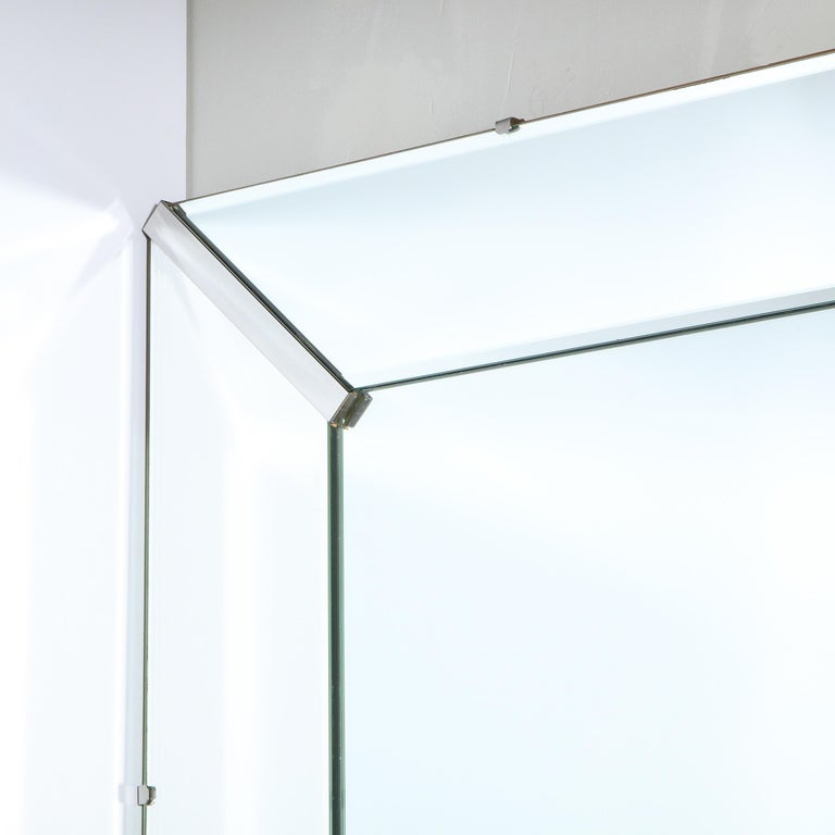 Mid-20th Century Mid-Century Modern Rectangular Shadowbox Mirror with Chrome Inserts For Sale