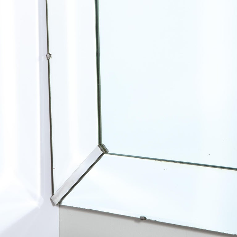 Mid-Century Modern Rectangular Shadowbox Mirror with Chrome Inserts For Sale 1