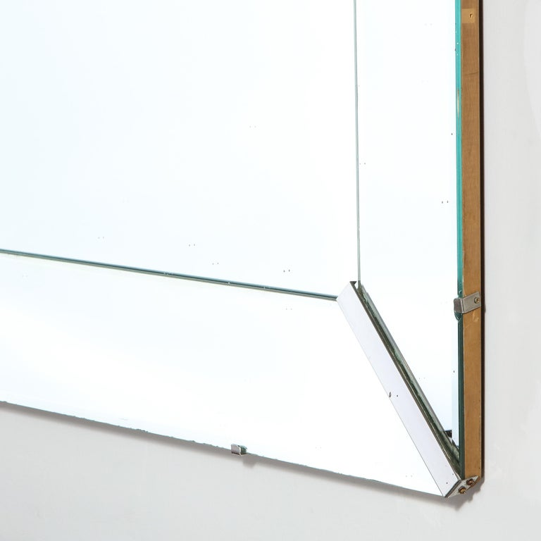 Mid-Century Modern Rectangular Shadowbox Mirror with Chrome Inserts For Sale 2