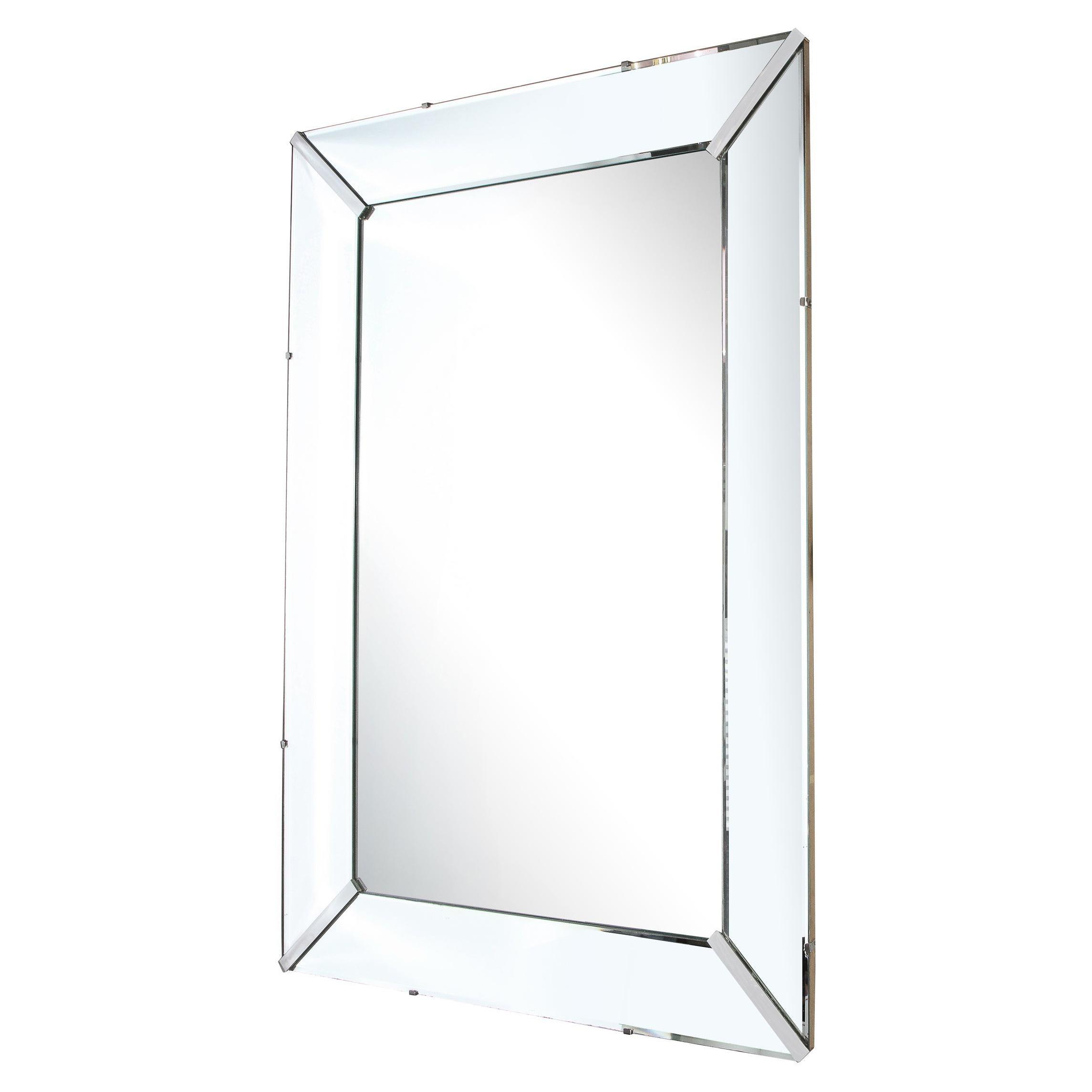 Mid-Century Modern Rectangular Shadowbox Mirror with Chrome Inserts