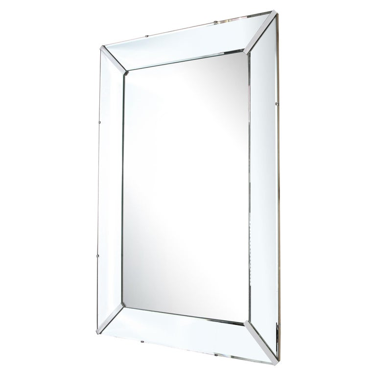 Mid-Century Modern Rectangular Shadowbox Mirror with Chrome Inserts For Sale