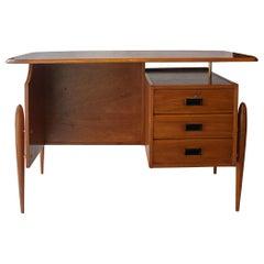 Mid-Century Modern Rectangular Teak Brass Scandinavian Desk, 1950