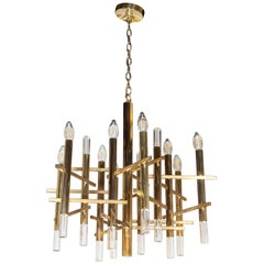 Mid-Century Modern Rectilinear Polished Brass and Lucite Chandelier by Sciolari