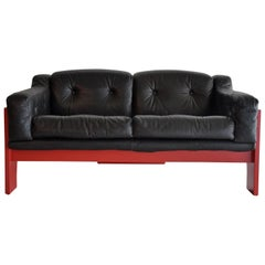 Mid-Century Modern Red and Black Sofa by Claudio Salocchi for Sormani