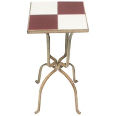 Mid-Century Modern Red and White Ceramic Mosaic Tile Side or Drinks Table