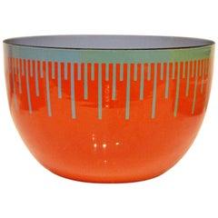 Mid-Century Modern Red Blue Enameled Art Bowl by Richard Anuszkiewicz