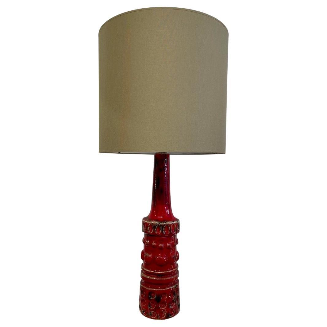 Mid-Century Modern Red Ceramic Table Lamp, Belgium, 1950s