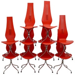 Mid-Century Modern Red Chrome Dining Chairs Theo Häberli Switzerland Set of Ten
