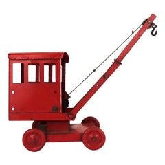 Mid-Century Modern Red Colored Steel Miniature Crane