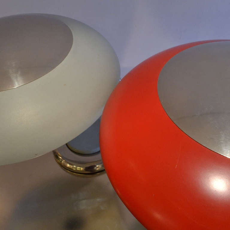 German Mid-Century Modern Red Metal Desk or Table Lamp For Sale