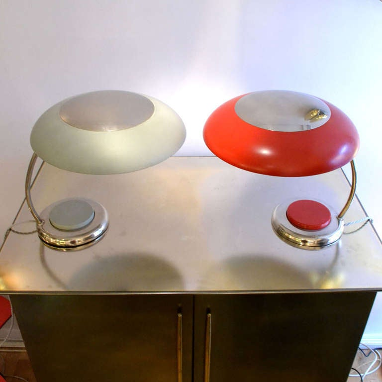 Mid-20th Century Mid-Century Modern Red Metal Desk or Table Lamp For Sale