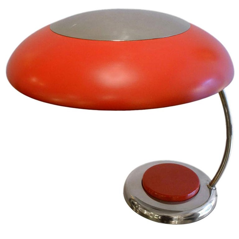 Mid-Century Modern Red Metal Desk or Table Lamp For Sale