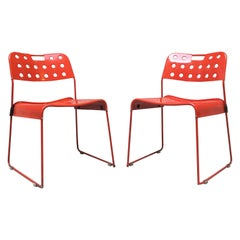 Mid-Century Modern Red Omstak Chair by Rodney Kinsman for Bieffeplast, 1972