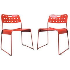 Mid-Century Modern Red Omstak Chairs by Rodney Kinsman for Bieffeplast, 1972