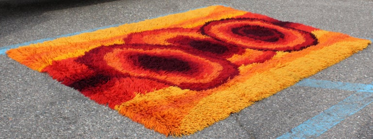 Mid-Century Modern Red Orange Rya Shag Area Rug Carpet ...