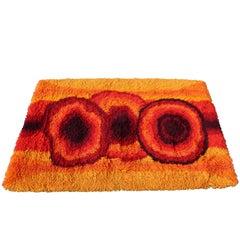 Mid-Century Modern Red Orange Rya Shag Area Rug Carpet 1970s
