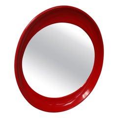 Mid-Century Modern Red Plastic Elliptical Mirror Joe Colombo