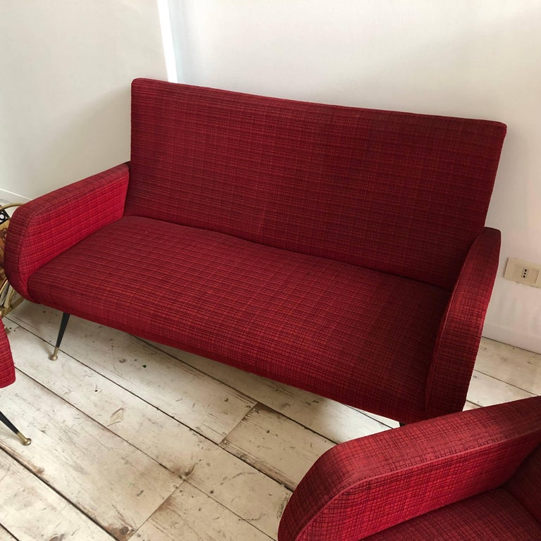 Mid-Century Modern Red fabric Sofa and Armchairs, Italy, circa 1950
