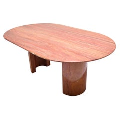 Mid-Century Modern Red Travertine Oval Dining Room Table, Italy, 1970