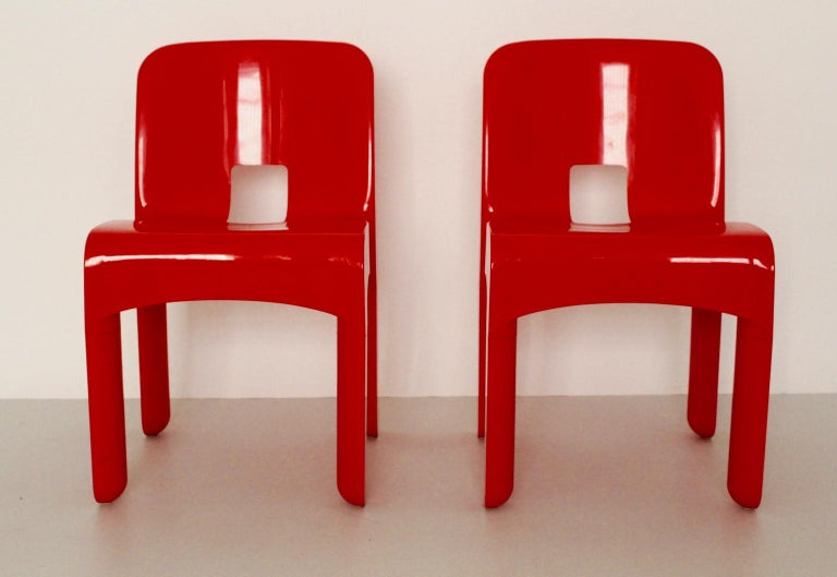 Italian Mid-Century Modern Red Vintage Plastic Dining Chairs Joe Colombo, 1965-67, Italy For Sale