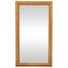 Mid-Century Modern Reeded Mirror Finished in 24-Karat Gilt