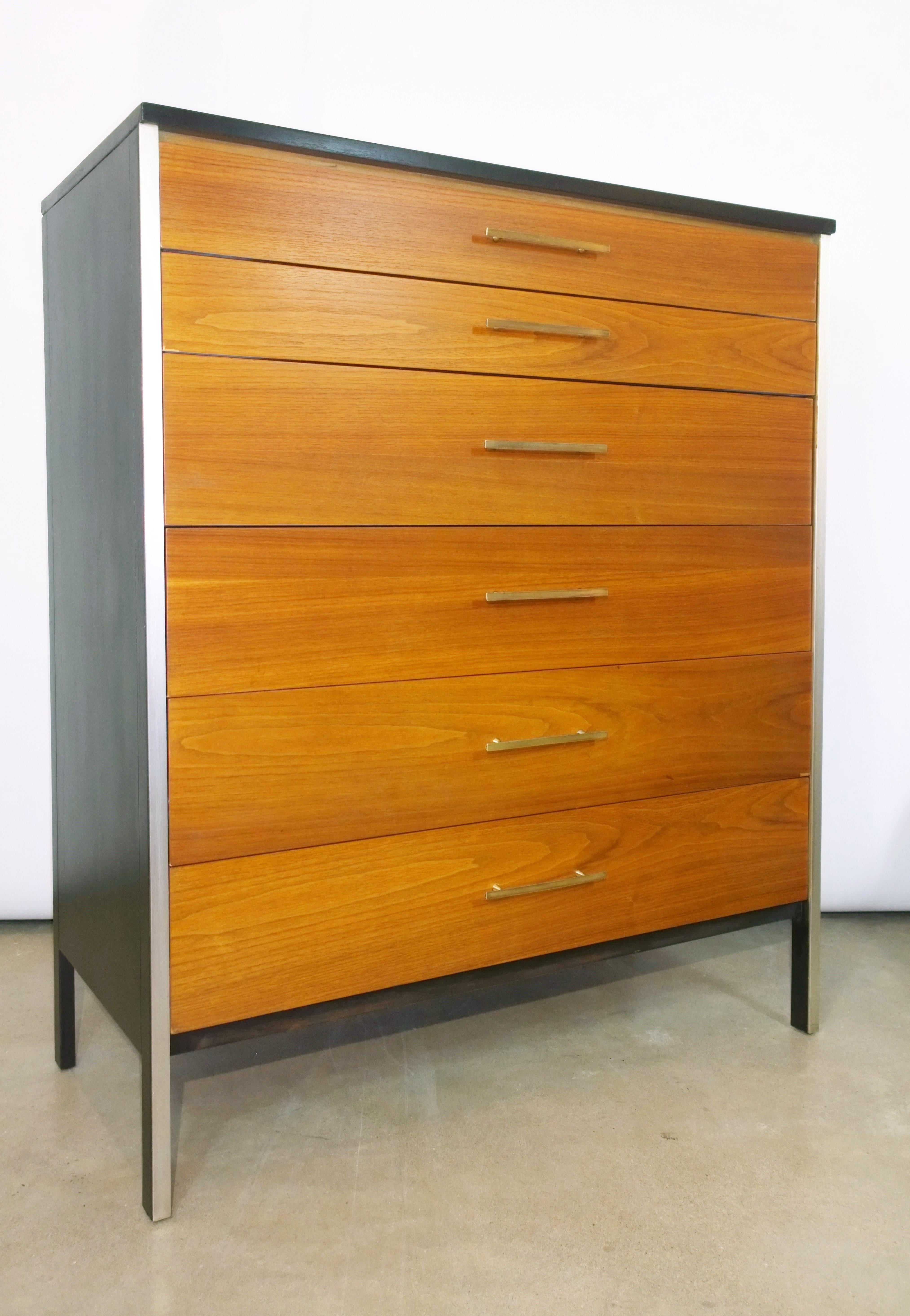 Picture of: Black Frame And Natural Walnut 6 Drawer W Brass Pulls Chest Of Drawers High Boy For Sale At 1stdibs