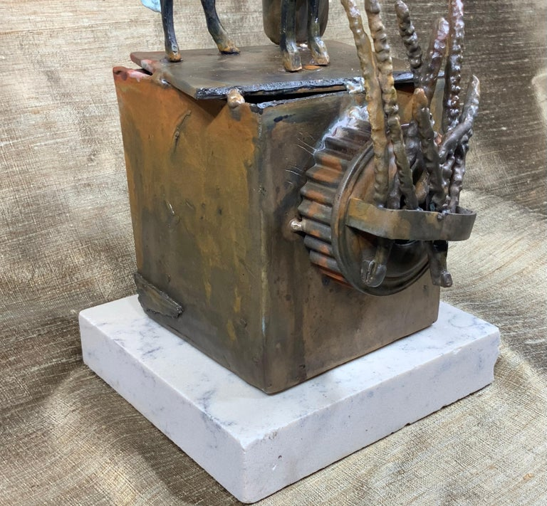 Mid-Century Modern Religious Bronze and Copper Sculpture For Sale 6