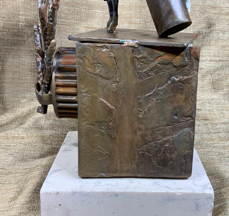 Mid-Century Modern Religious Bronze and Copper Sculpture For Sale 9