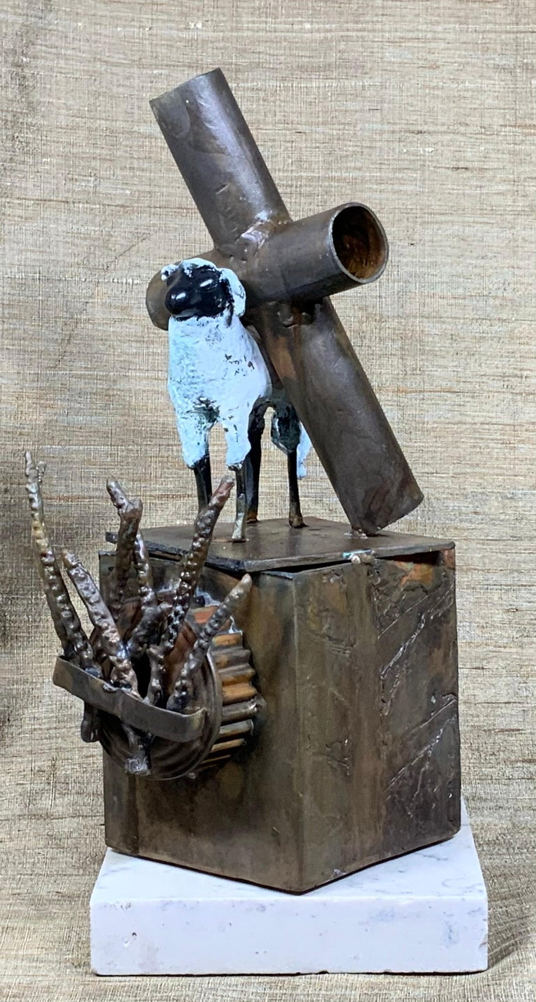 American Mid-Century Modern Religious Bronze and Copper Sculpture For Sale