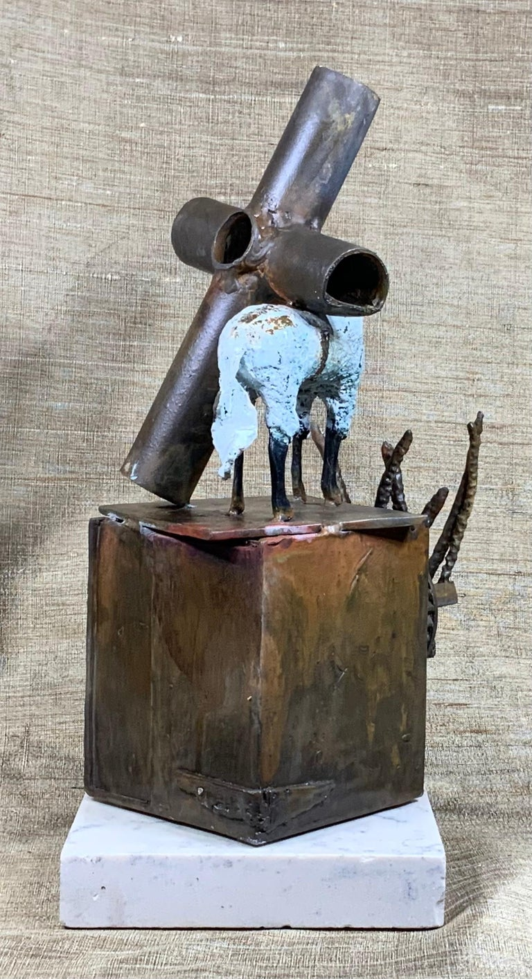 Mid-Century Modern Religious Bronze and Copper Sculpture For Sale 2