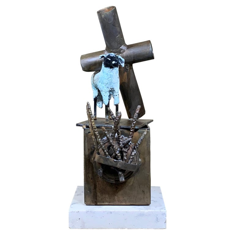 Mid-Century Modern Religious Bronze and Copper Sculpture For Sale