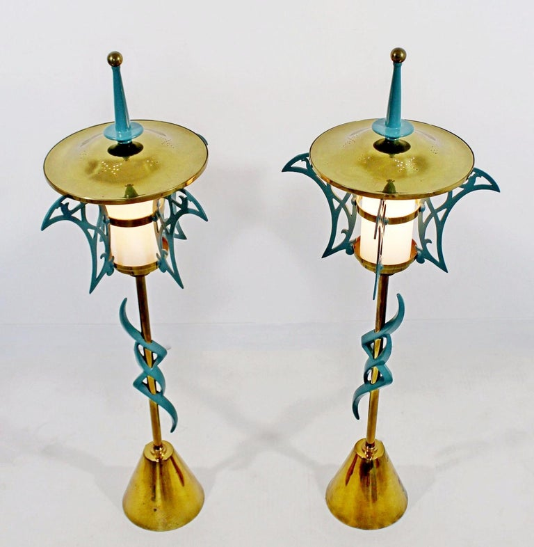 American Mid-Century Modern Rembrandt Pair of Solid Brass Table Lamps Cold Painted, 1957