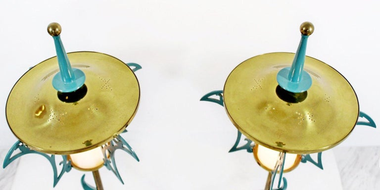 Mid-Century Modern Rembrandt Pair of Solid Brass Table Lamps Cold Painted, 1957 In Good Condition In Keego Harbor, MI