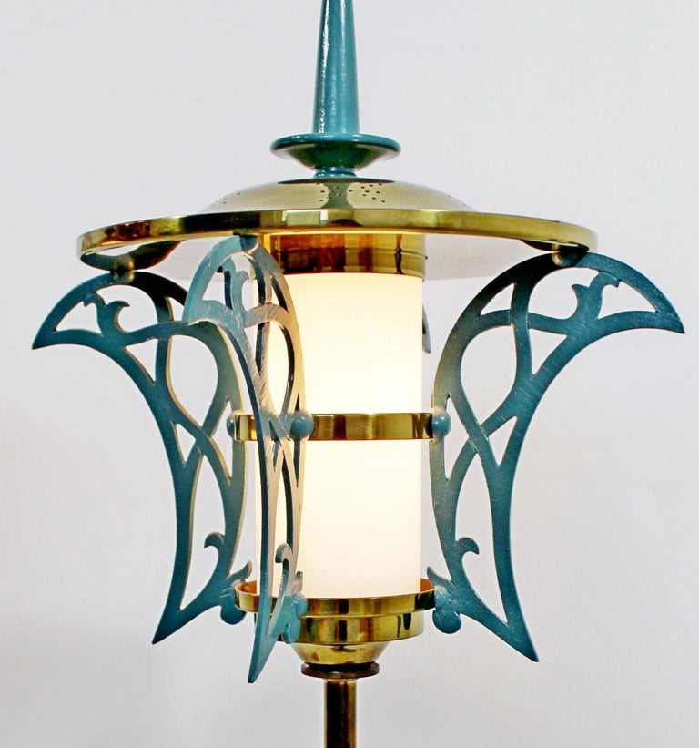 Mid-20th Century Mid-Century Modern Rembrandt Pair of Solid Brass Table Lamps Cold Painted, 1957