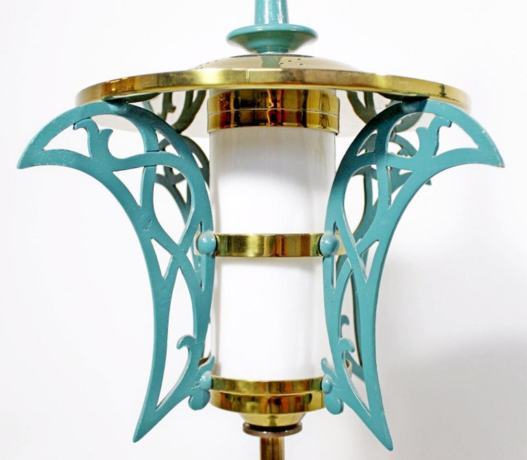 Mid-Century Modern Rembrandt Pair of Solid Brass Table Lamps Cold Painted, 1957 2