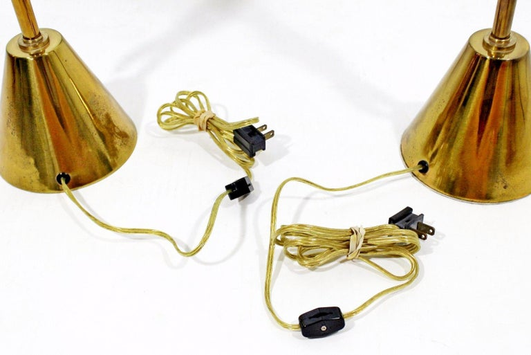 Mid-Century Modern Rembrandt Pair of Solid Brass Table Lamps Cold Painted, 1957 3