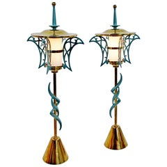 Mid-Century Modern Rembrandt Pair of Solid Brass Table Lamps Cold Painted, 1957