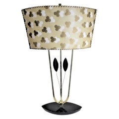 Mid-Century Modern Rembrandt Styled Table Lamp with Patterned Fiberene Shade