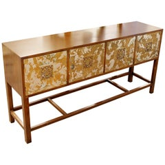 Mid-Century Modern Renzo Rutili Asian Style 4-Door Credenza Console Table, 1960s