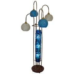 Mid-Century Modern Resin Acrylic Spaghetti 4 Globe Brass Floor Lamp 1970s Blue