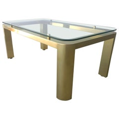 Mid-Century Modern Restored Pace Brass & Floating Glass Cocktail or Coffee Table