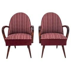 Mid-Century Modern Retro Purple Club Chairs