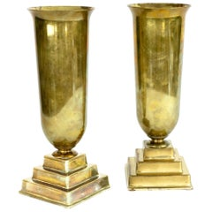 Mid-Century Modern Revellware Trumpet Vases, Pair