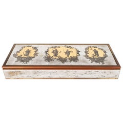 Mid-Century Modern Reverse Eglomisé Gold Mirrored Box by Piero Fornasetti