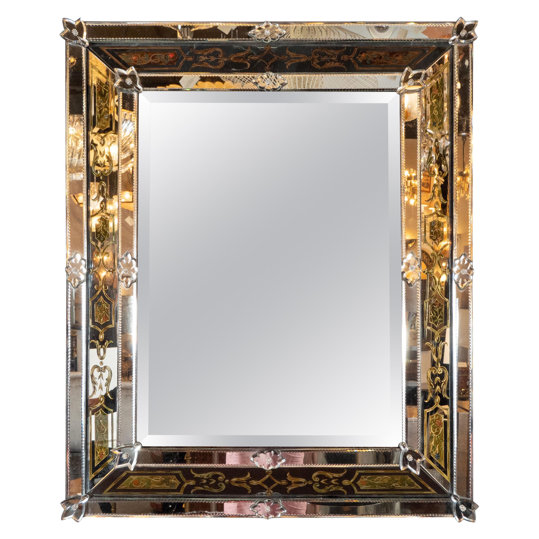 Mid-Century Modern Reverse Églomisé Chain Beveled Venetian Shadowbox Mirror