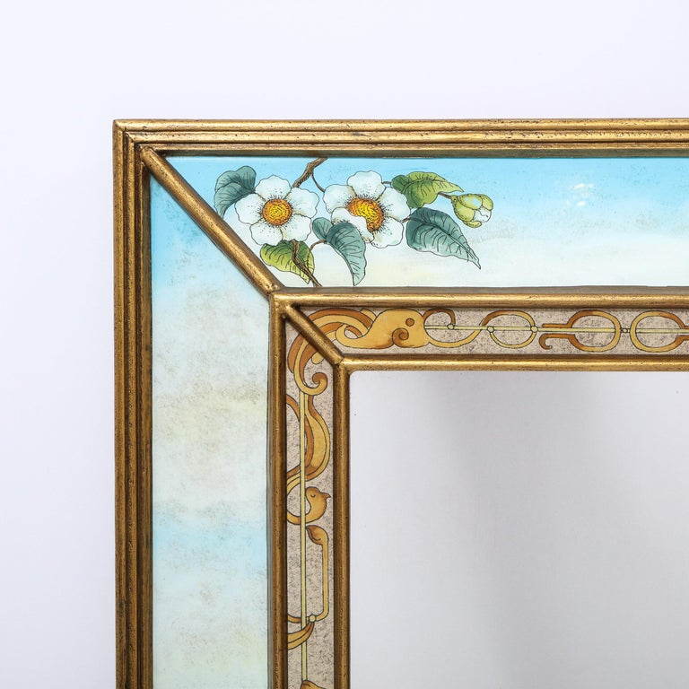 American Mid-Century Modern Reverse Eglomise Painted Mirror with Stylized Flora and Fauna