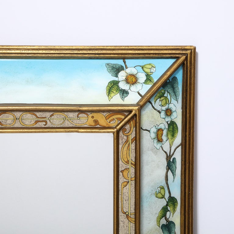 Mid-Century Modern Reverse Eglomise Painted Mirror with Stylized Flora and Fauna In Good Condition In New York, NY