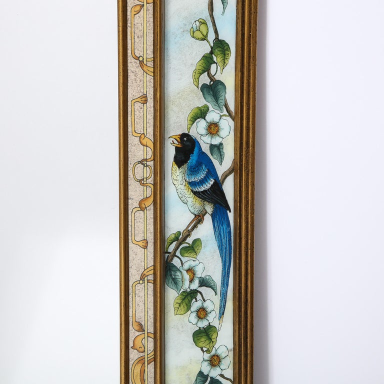 Mid-20th Century Mid-Century Modern Reverse Eglomise Painted Mirror with Stylized Flora and Fauna