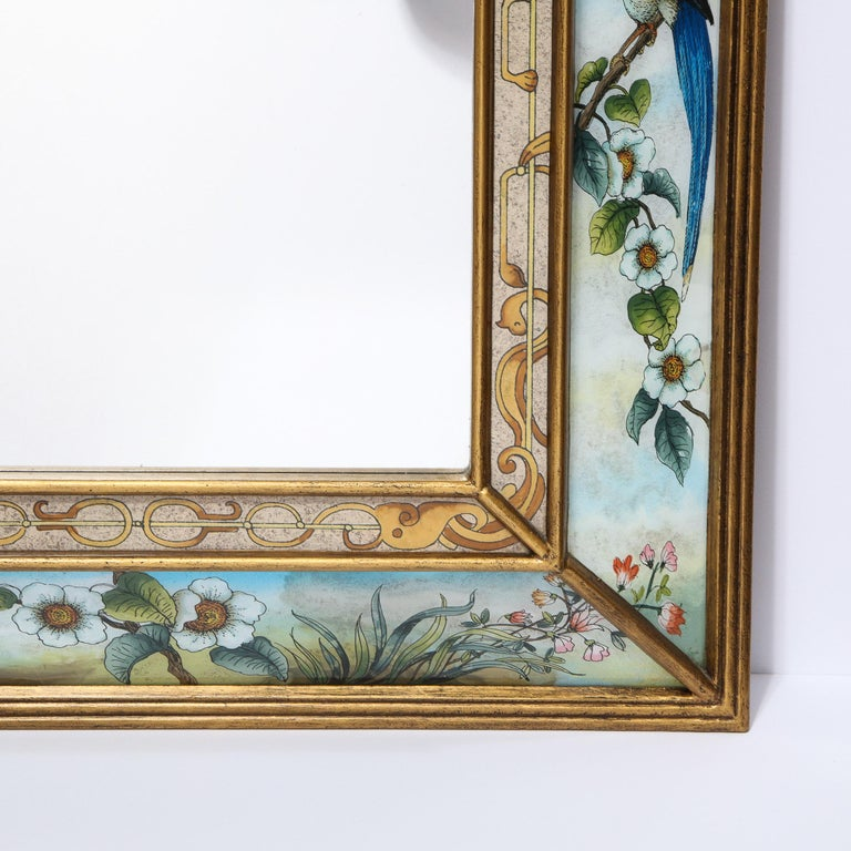 Mid-Century Modern Reverse Eglomise Painted Mirror with Stylized Flora and Fauna 1